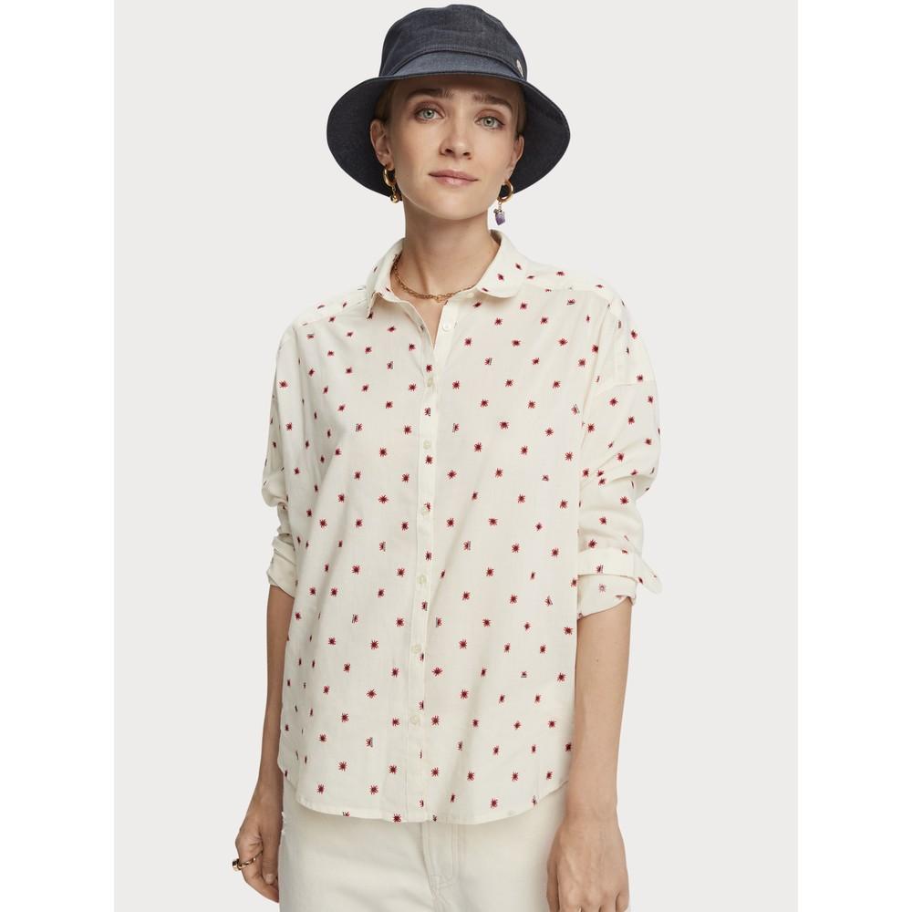 Scotch & Soda Round Collar Cotton-Blend Patterned Shirt White