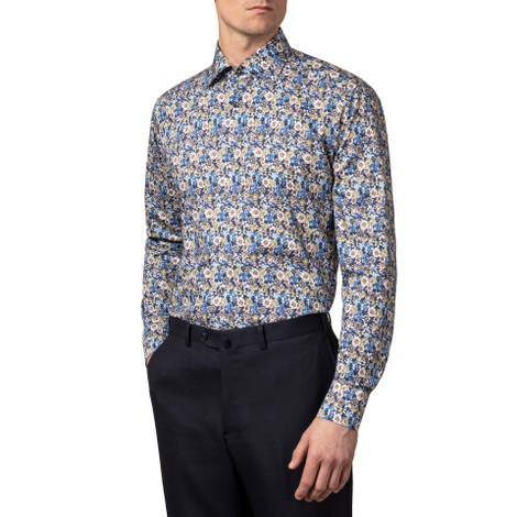 Eton Blue Flower Twill Contemp Fit Shirt