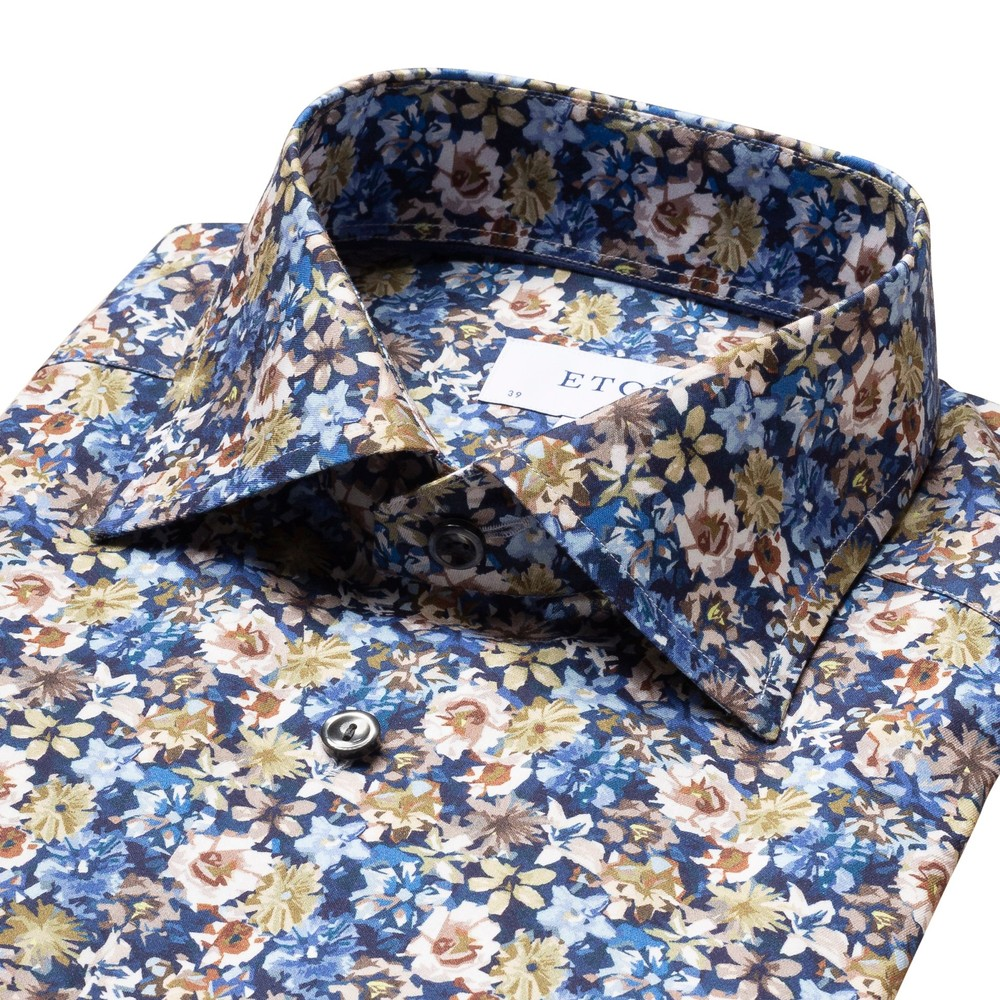 Eton Blue Flower Twill Contemp Fit Shirt Floral