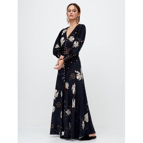 Hayley Menzies  Free As A Bird Lace Panel Silk Maxi Dress