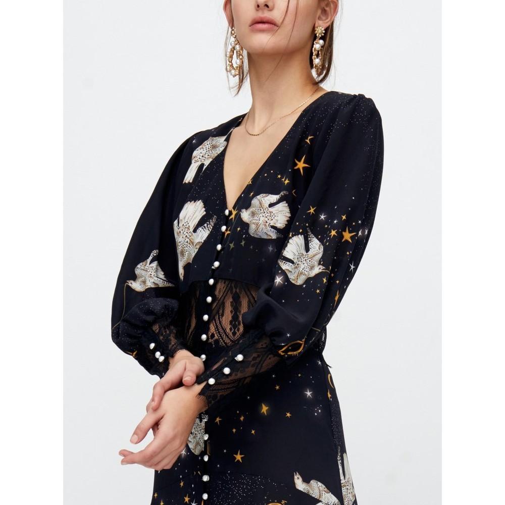 Hayley Menzies  Free As A Bird Lace Panel Silk Maxi Dress Black