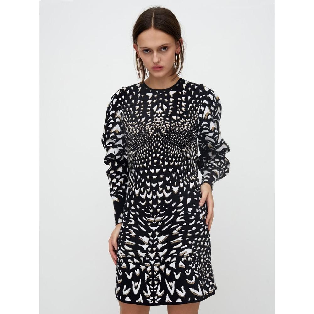 Hayley Menzies Wings Jacquard Mini Dress Black & White