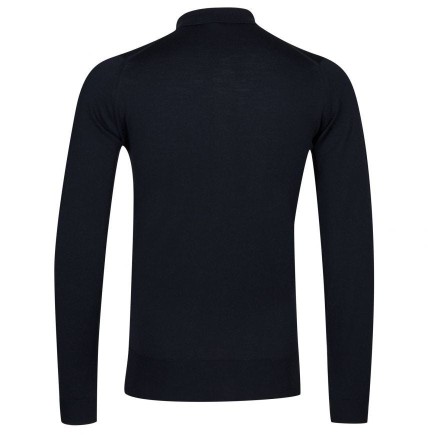 John Smedley Belper Long Sleeve Polo Shirt Midnight Navy