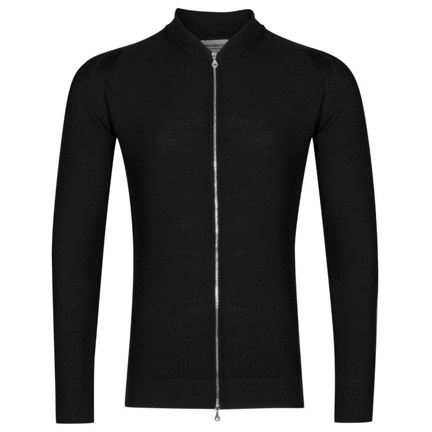 John Smedley 6.Singular Honeycomb Full Zip Jacket Black