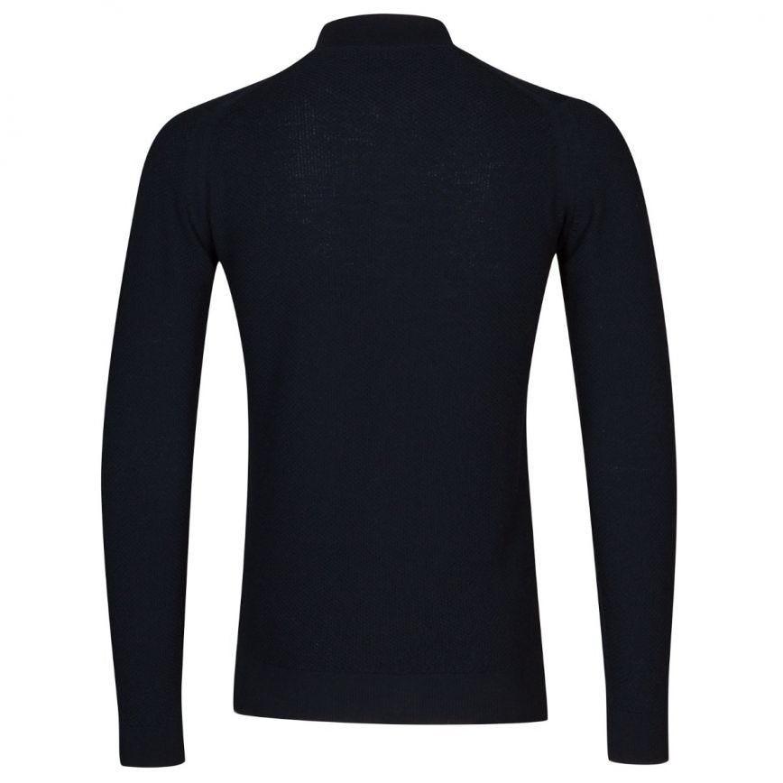 John Smedley 6.Singular Honeycomb Full Zip Jacket Midnight Navy