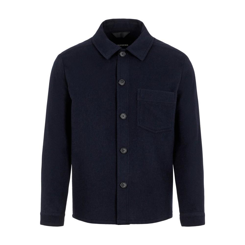 J.Lindeberg Flat Wool Overshirt Navy
