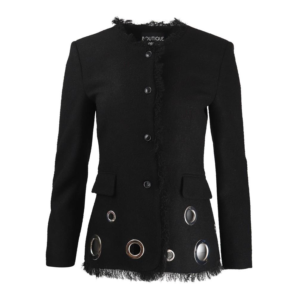 Moschino Boutique Tweed Jacket With Fringe and Eyelets Black