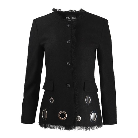 Moschino Boutique Tweed Jacket With Fringe and Eyelets