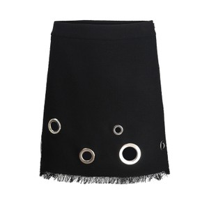 Moschino Boutique Tweed Skirt With Fringe and Eyelets