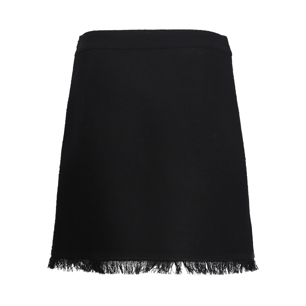 Moschino Boutique Tweed Skirt With Fringe and Eyelets Black