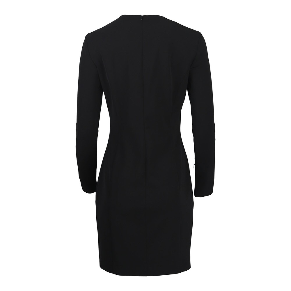 Moschino Boutique Long Sleeve Black Dress With Eyelet Detail Black