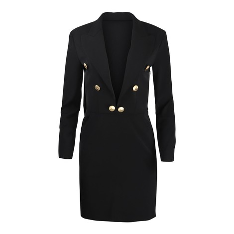 Moschino Boutique Cady Gold Button Dress