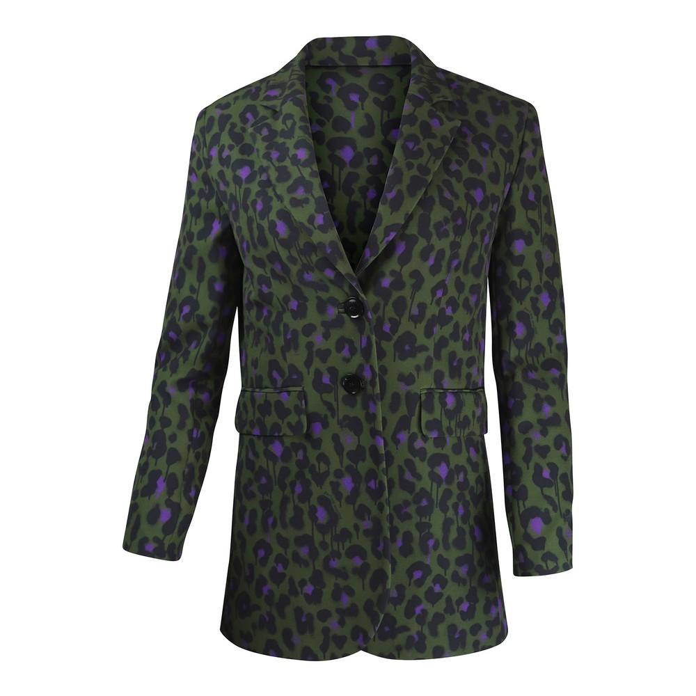 Moschino Boutique Animal Print Blazer Green