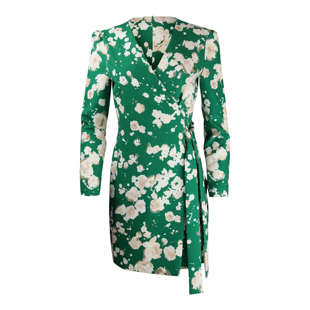 Moschino Boutique Patterned Wrap Dress Green
