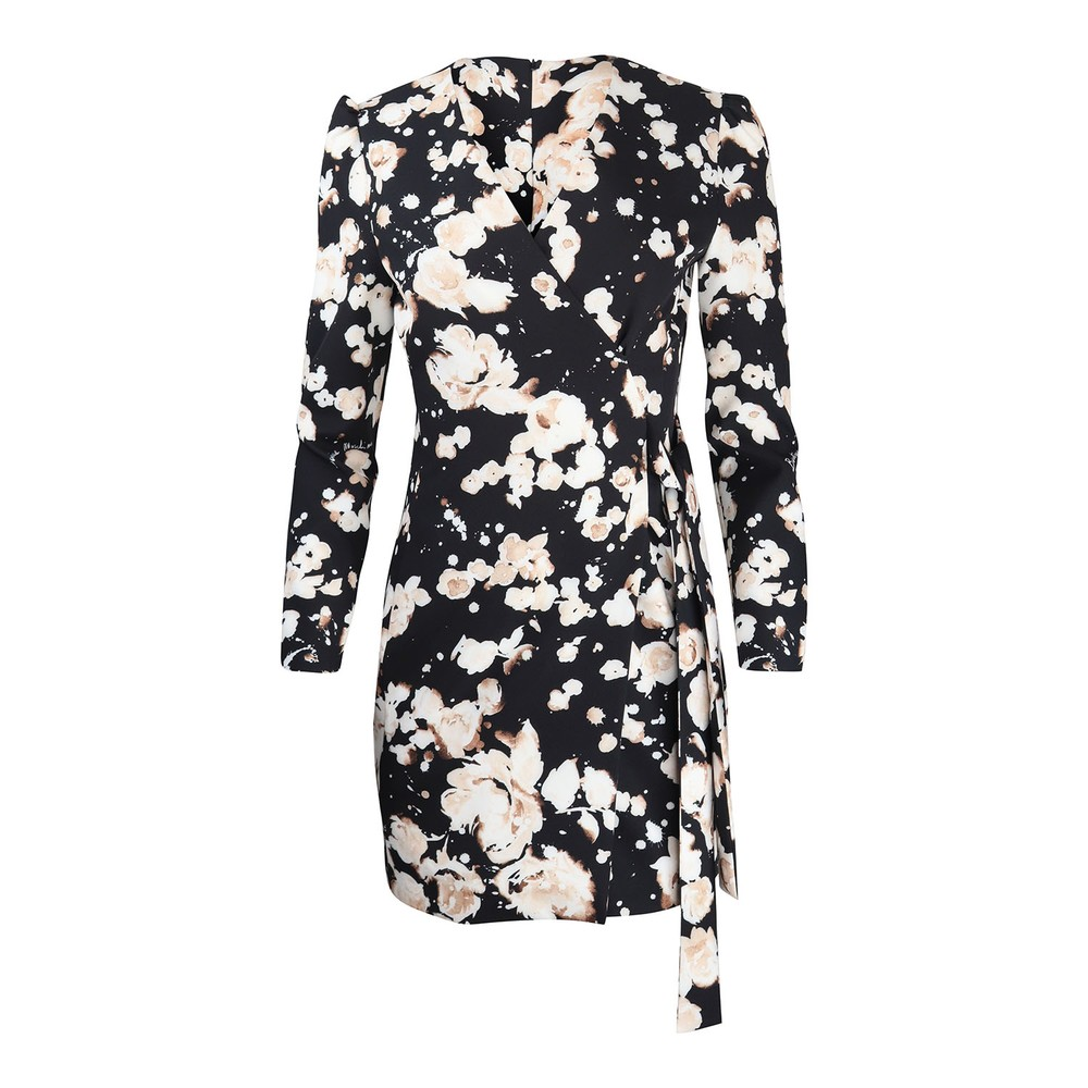 Moschino Boutique Patterned Wrap Dress Black and Cream