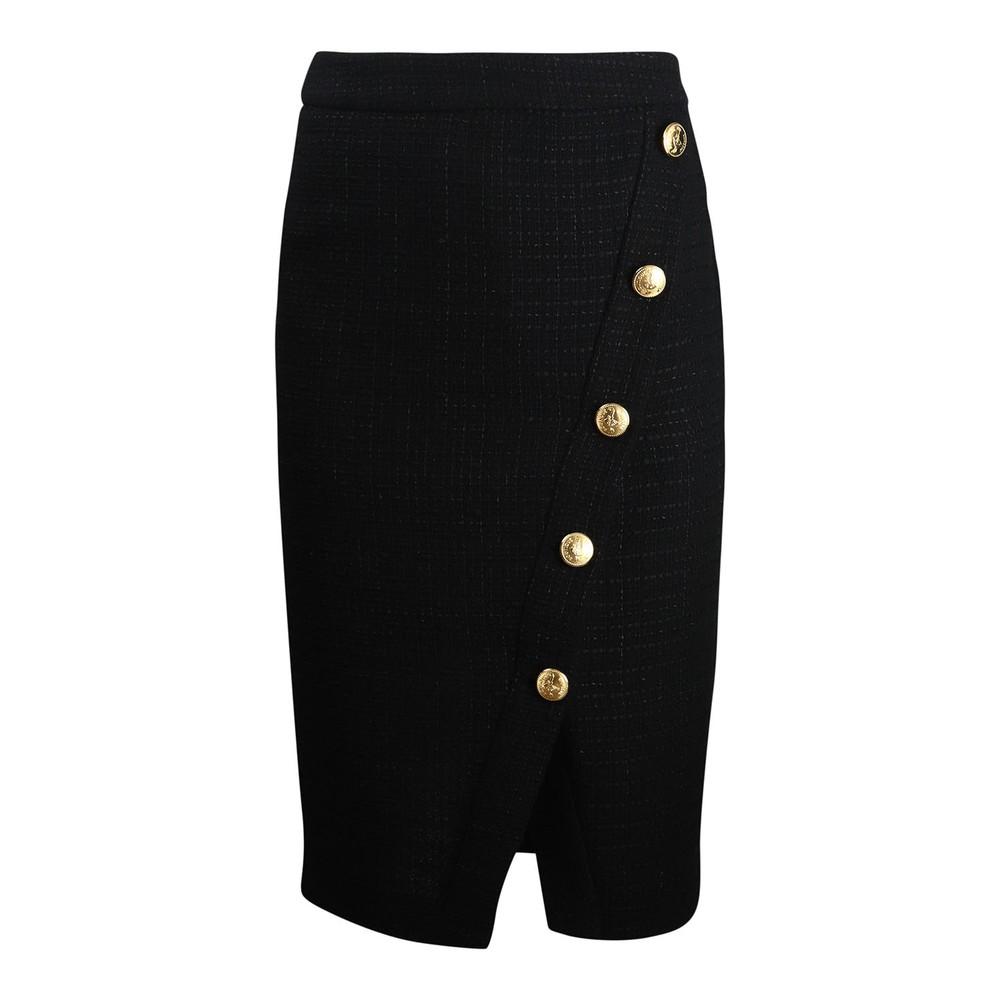 Moschino Boutique Gold Button Skirt Black
