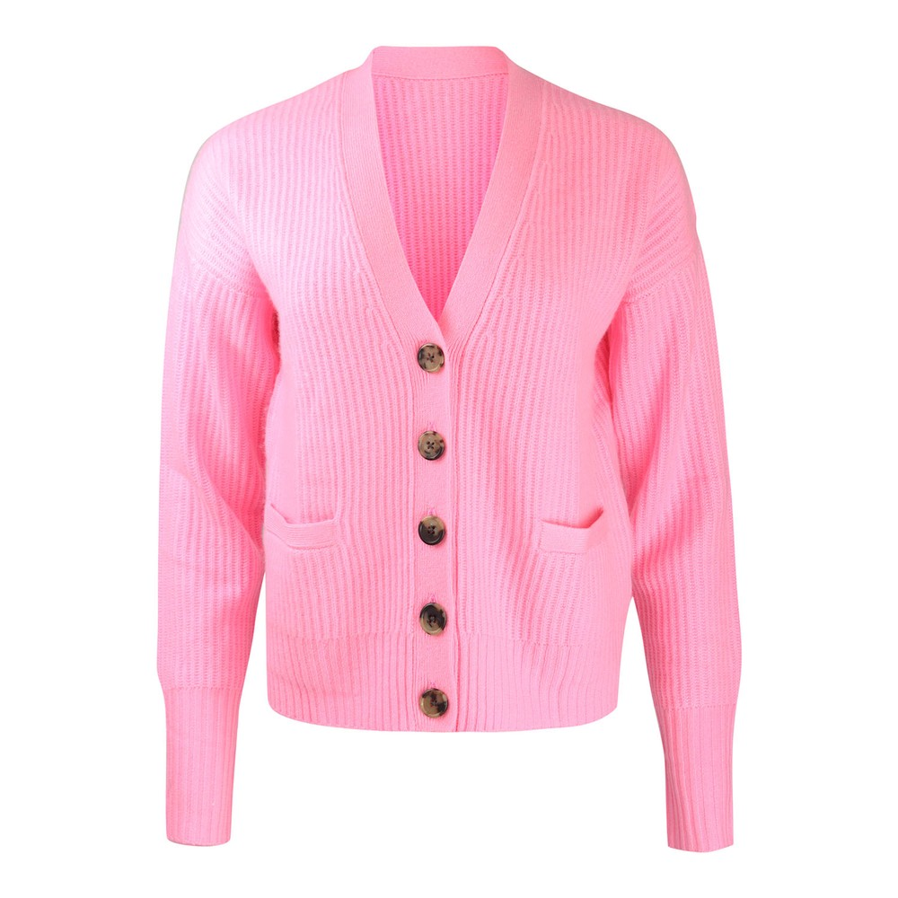 Cocoa Cashmere Stevie Rib Knit Cardigan Pink