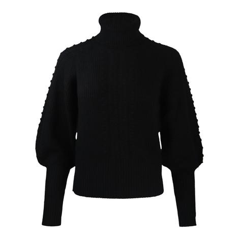 Cocoa Cashmere Nia Bobble Sleeved Jumper in Black