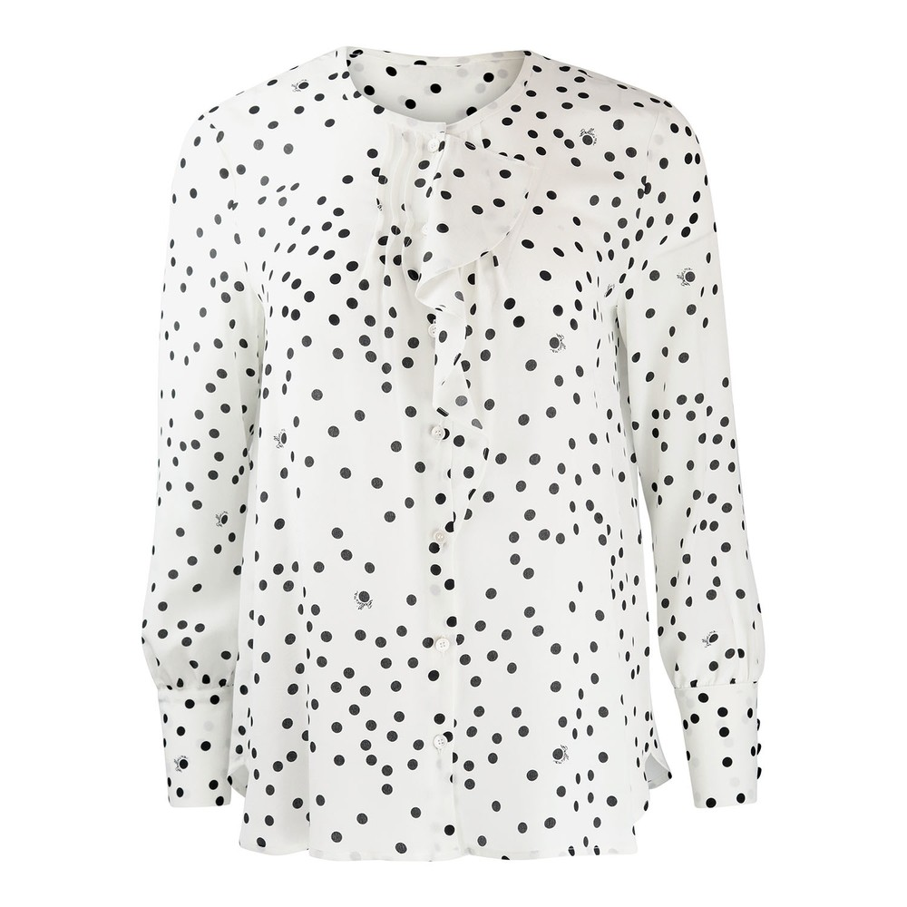 Marella Albano Frilled Spotted Shirt Black