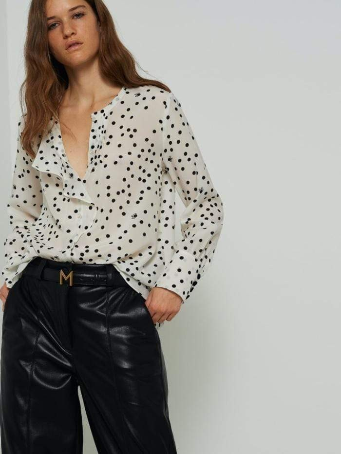 Marella Albano Frilled Spotted Shirt Black