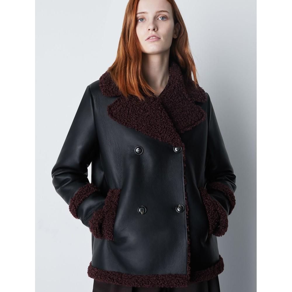 Marella Cento Faux Shearling Jacket Black