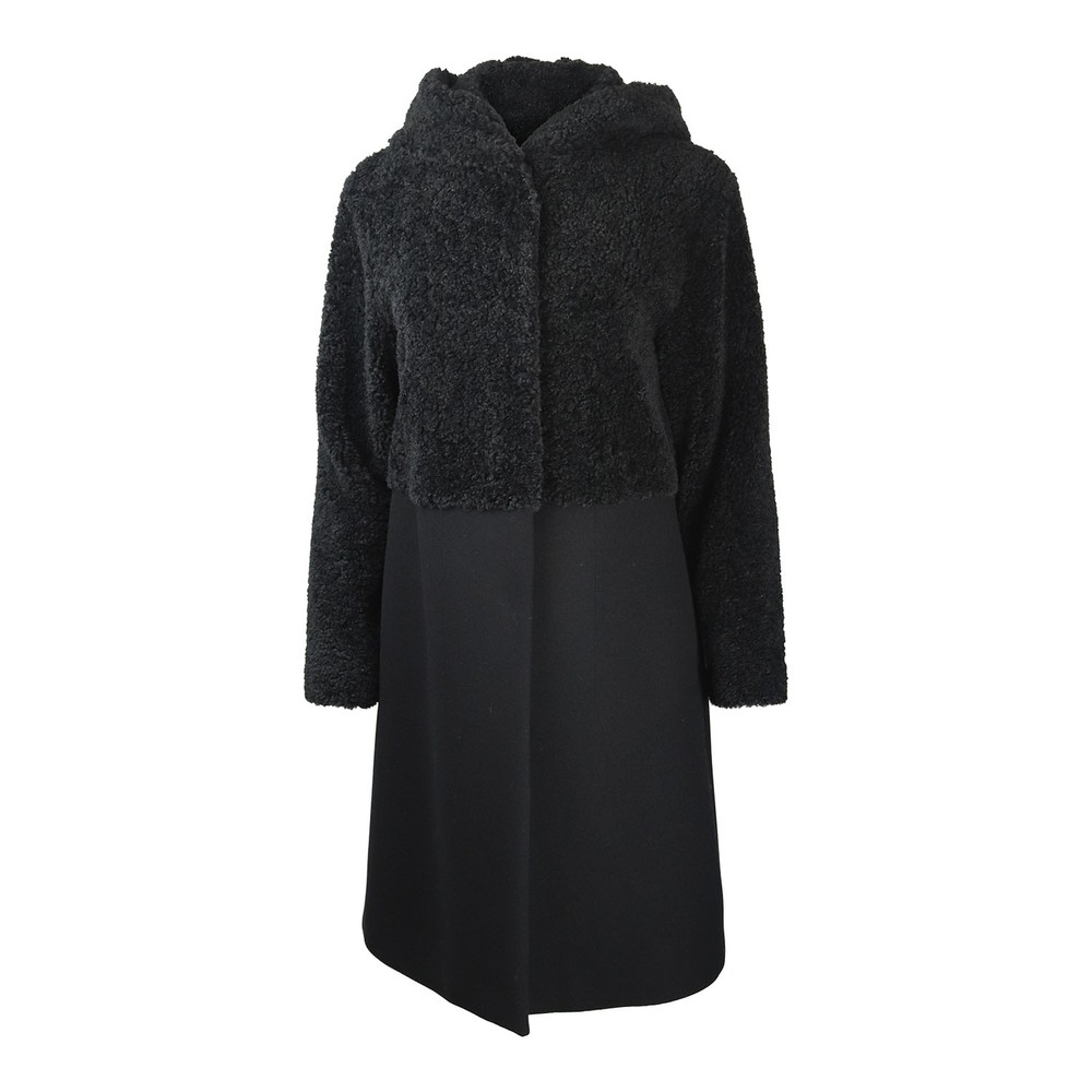 Sportmax Dalida Teddy Fur Coat Black