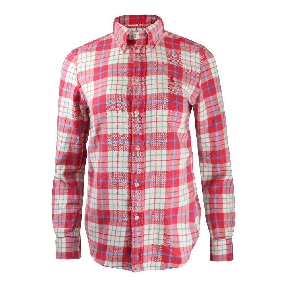 Ralph Lauren Womenswear Georgia Plaid Shirt Pink and White