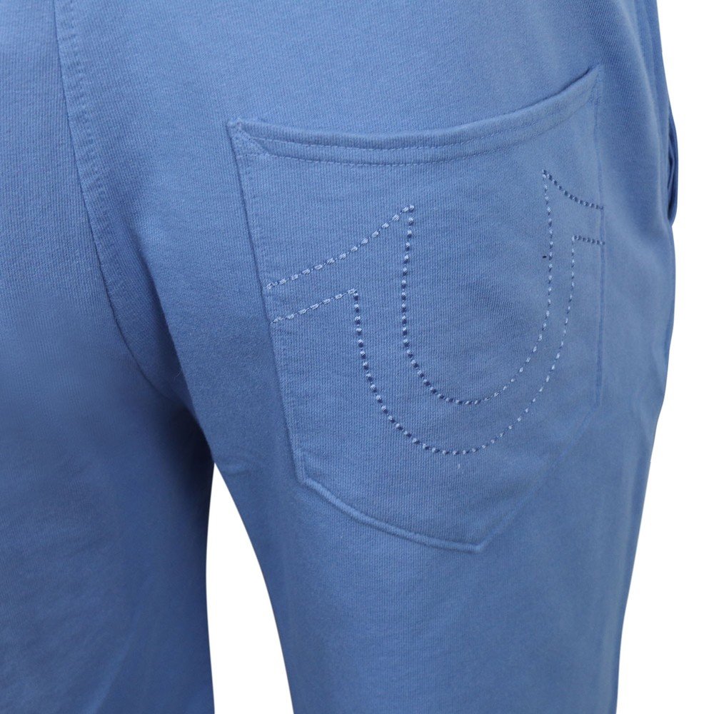 True Religion Hd Black Logo Sweat Shorts Blue