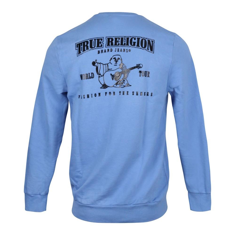 True Religion Hd Black Puff Buddha Crew Sweatshirt Blue