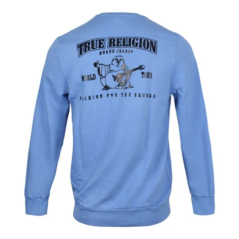 True Religion Hd Black Puff Buddha Crew Sweat