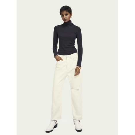 Scotch & Soda Navy Ribbed Turtleneck Jumper