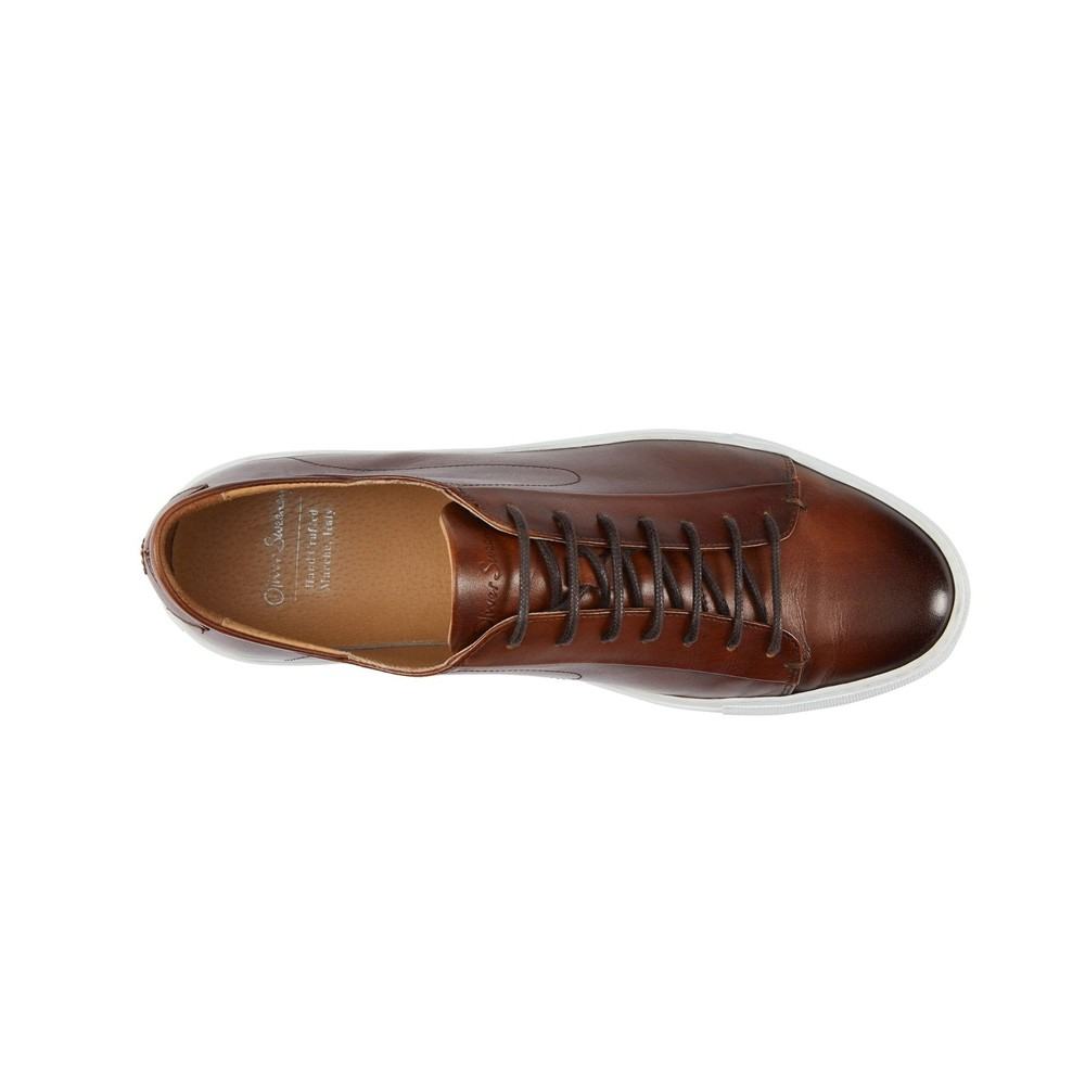 Oliver Sweeney Osima Antiqued Leather Trainer Dark Tan