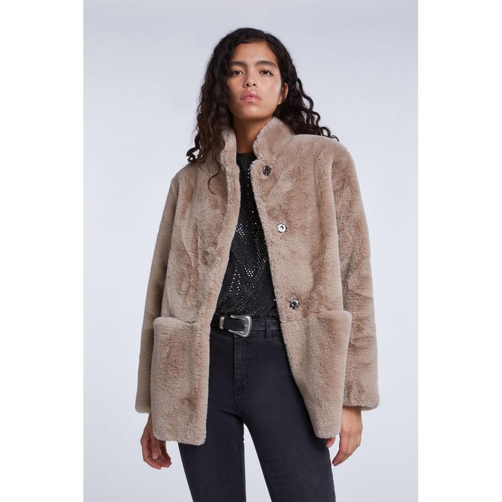 Set Faux Fur Jacket Beige