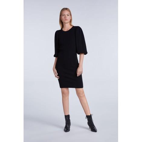 Set Long Puff Sleeve Knitted Dress