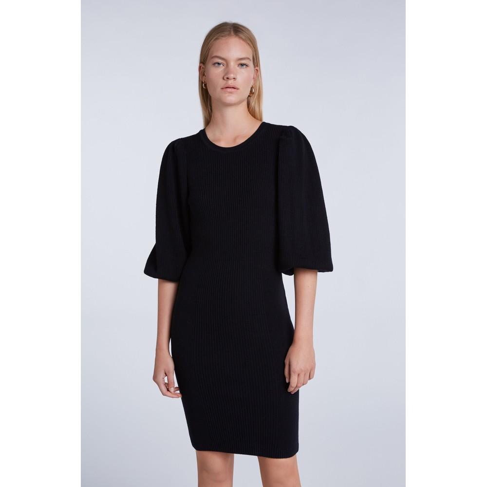 Set Long Puff Sleeve Knitted Dress Black