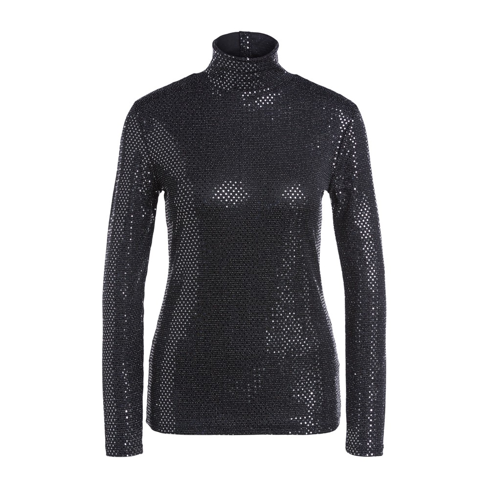 Set Long Sleeve Sparkle Polo Top Silver and Black