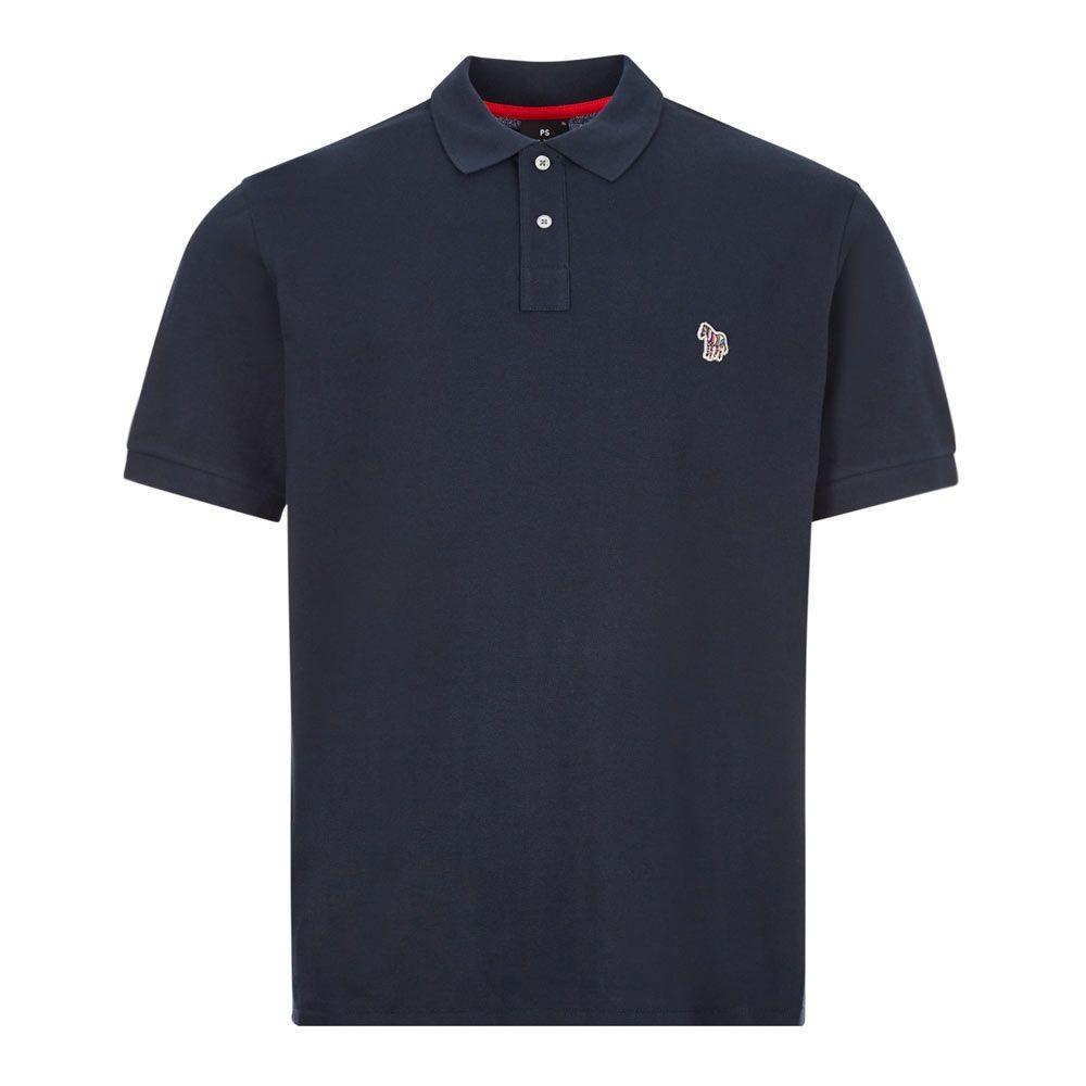 PS Paul Smith Organic Cotton-Piqué Zebra SS Logo Polo Shirt Navy