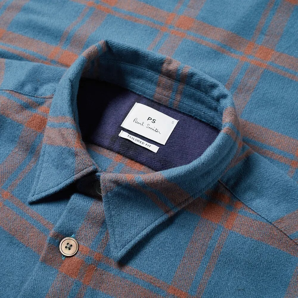 PS Paul Smith Flannel Check Tailored Fit Shirt Navy