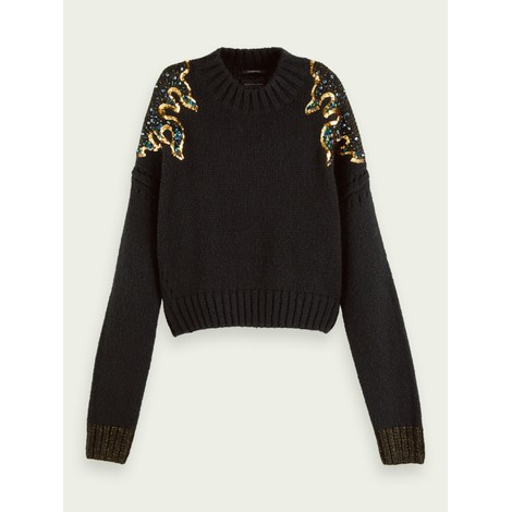 Scotch & Soda Black Knit with Sequin Detail