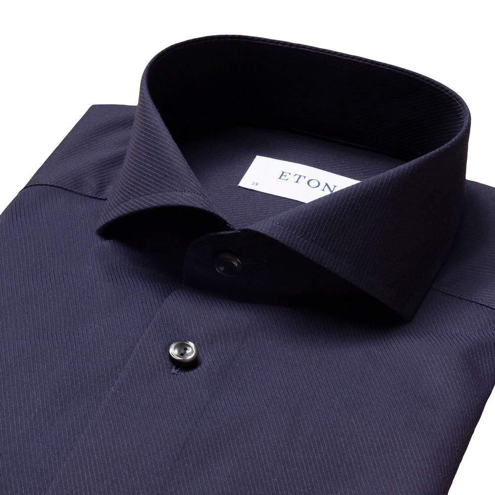 Eton Navy Diagonal Twill Slim Fit Shirt Navy