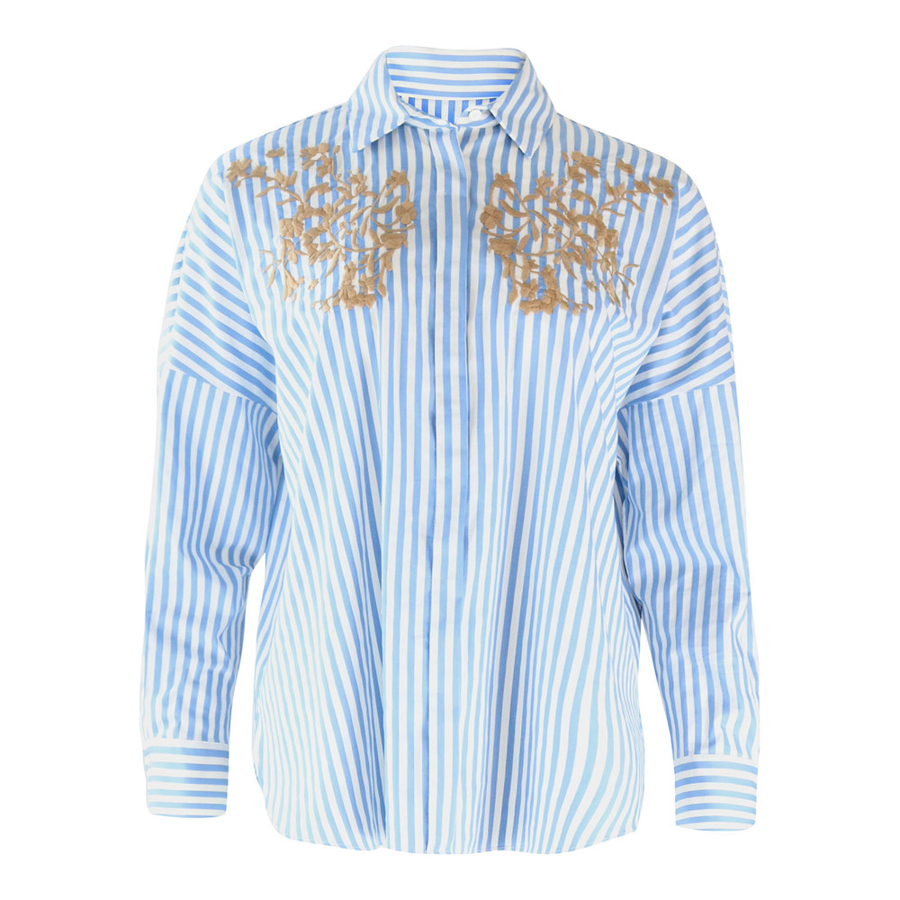 Marella Blue Striped Shirt with Applique Blue and White