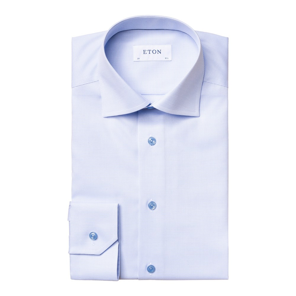 Eton Textured Twill Shirt Blue and White