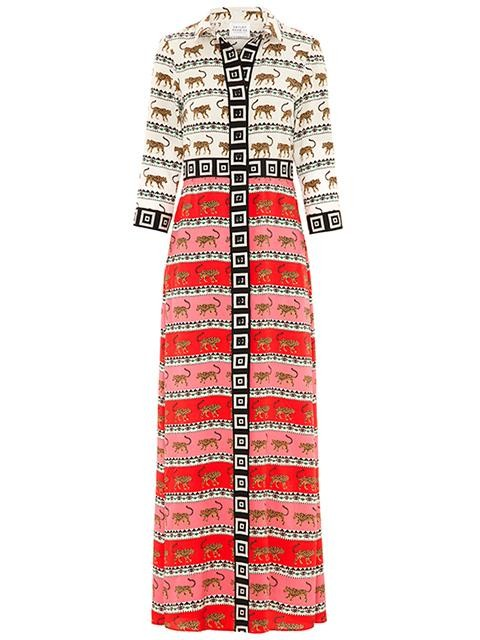 Hayley Menzies Leopardess Silk Maxi Shirt Dress Pink/Red