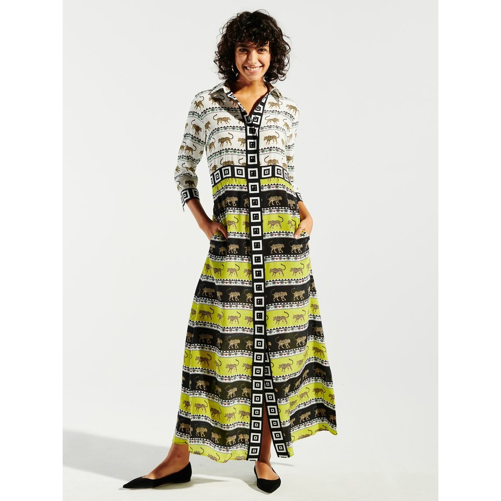 Hayley Menzies Leopardess Silk Maxi Shirt Dress Green/Black