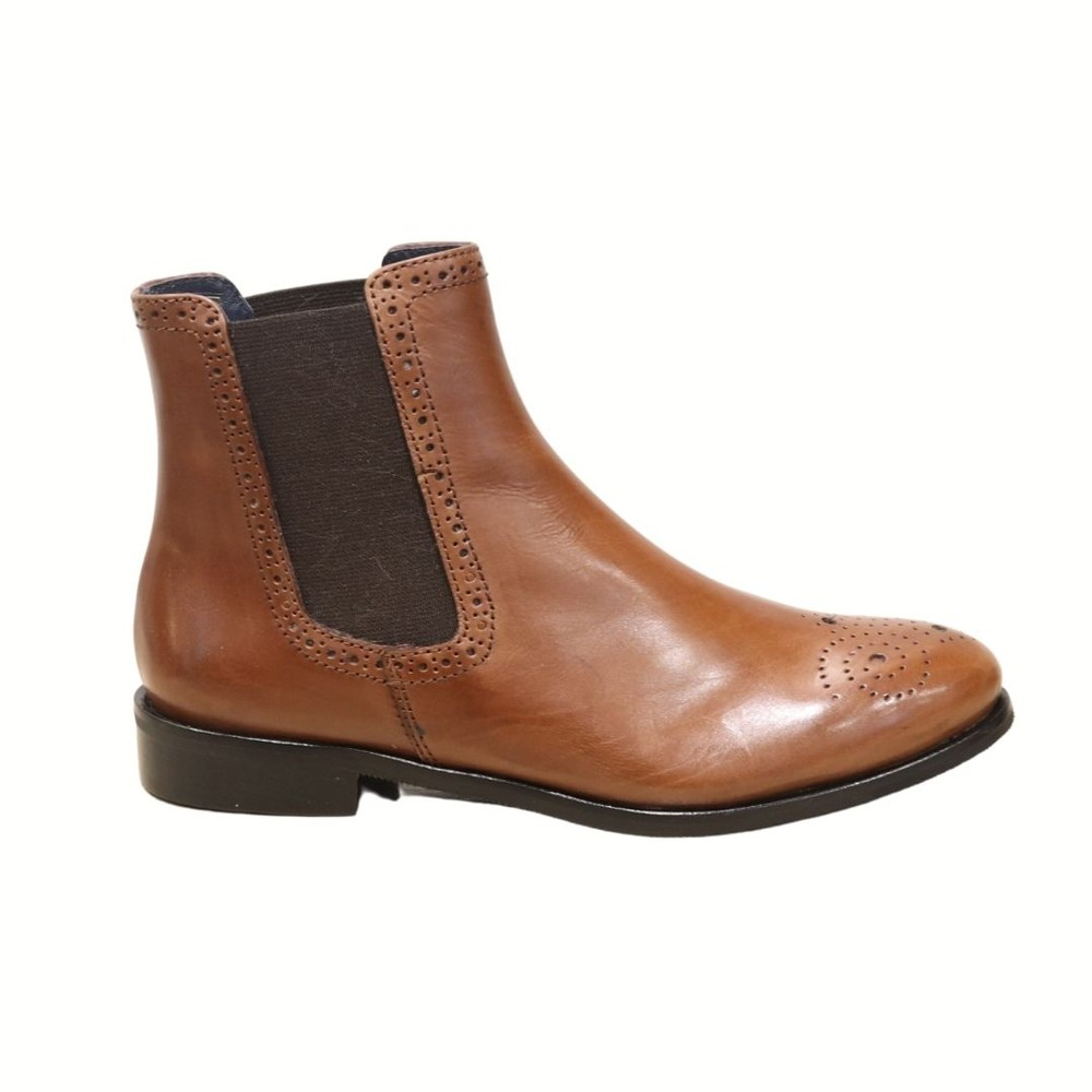 Aristocrat Tan Leather Embossed Flat Chelsea Boot Tan