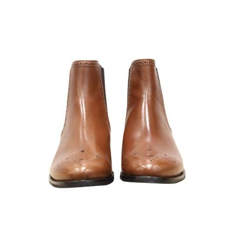Aristocrat Tan Leather Embossed Flat Chelsea Boot