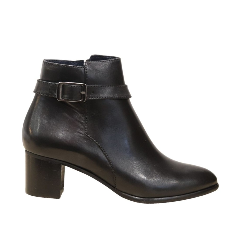 Aristocrat Black Leather Ankle Boot with Buckle Black
