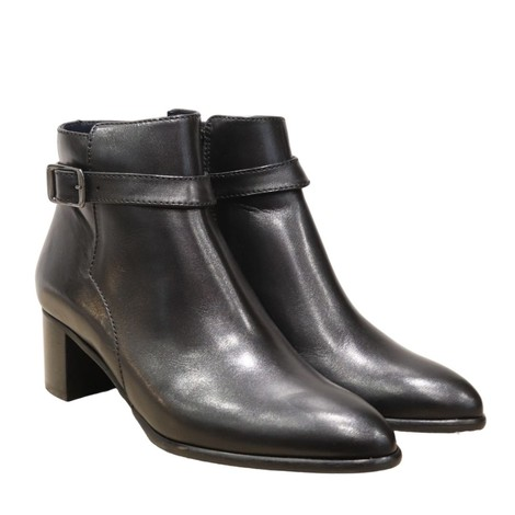 Aristocrat Black Leather Ankle Boot with Buckle