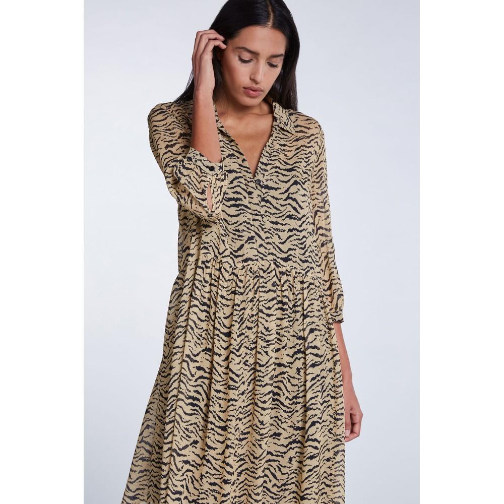 Set Zebra loose fitting short dress Beige