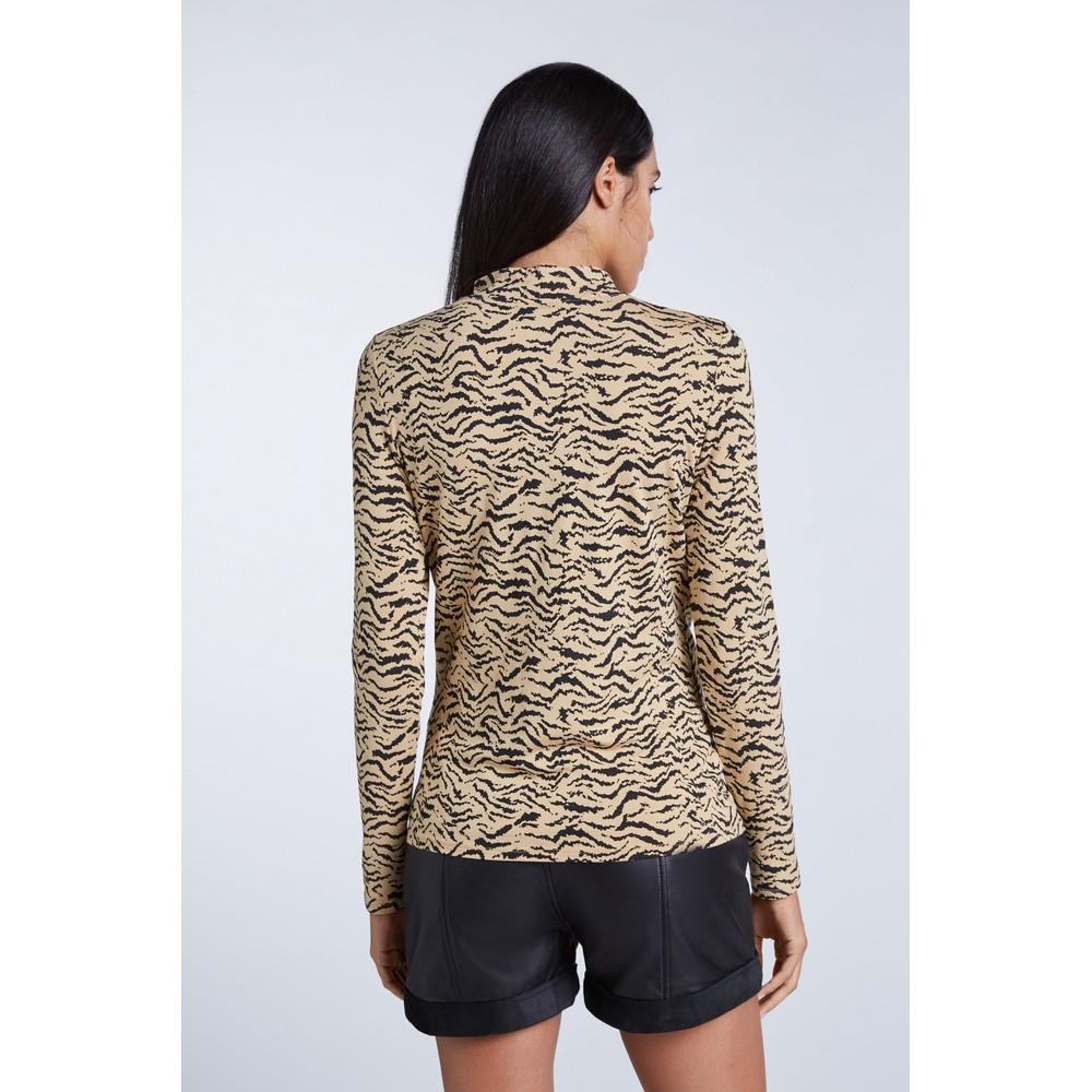 Set Zebra Jersey Top Beige